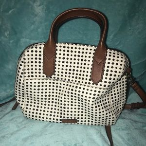 Fossil Black and White polka dot purse